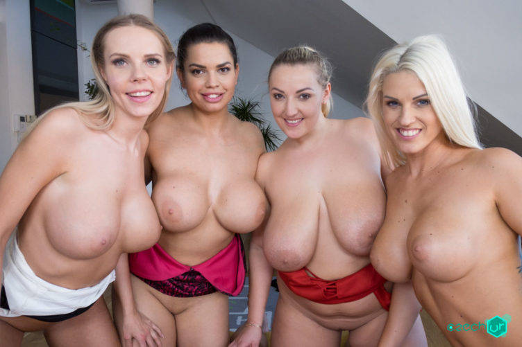 Fivesome with Huge Tits – Crystal Swift & Blanche Bradburry & Florane Russell & Chloe Lamour